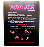 Donkey Kong Instruction Card